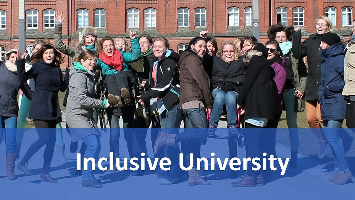 Disabled women are raised by fellow students. Image caption: Inclusive university